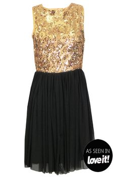 Claudy sequin and chiffon dress In Gold at Pop Couture #Pop's Party Edit