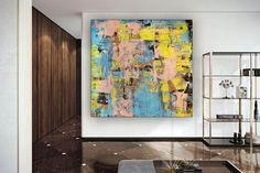 Abstract Canvas Art Interior Decor Dining Room Wall Art image 2 Dining Room Wall Art, Bathroom Wall Art, Modern Art Deco, Modern Wall Decor, Large Painting, Oil Painting On Canvas, Oversized Wall Art, Colorful Artwork, Abstract Canvas Art