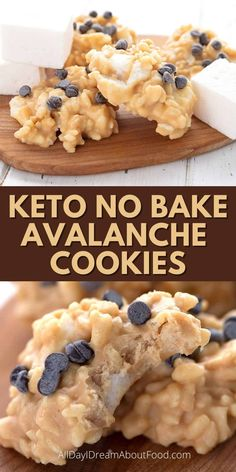 These keto no bake cookies are full of peanut butter, white chocolate, and sugar free marshmallows. They're a fun and easy way to enjoy a sweet treat without the carbs! Keto Desert Recipes, Low Sugar Recipes, No Sugar Foods, Keto Recipes, Cookie Recipes, Sugar Free Cookies, Keto Cookies, Low Carb Sweets, Low Carb Desserts