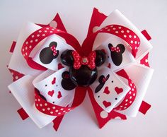 Red and White Boutique Hair bow Minnie by JustinesBoutiqueBows, $8.00