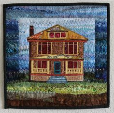 """American Foursquare, 16 x 16"""", by Amy Munson (North Dakota). JUDGE'S CHOICE, 2016 Quilt Alliance contest. Cotton fabrics, embroidery floss and beads using raw edge piecing and applique, hand embroidery and machine stitching."""