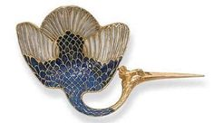 An Art Nouveau Stork Brooch, by Rene Lalique. The blue and green plique-à-jour enamel body and wings to the gold head and beak, circa cm. Bird Jewelry, Animal Jewelry, Jewelry Art, Vintage Jewelry, Jewelry Accessories, Jewelry Design, Jewellery, Bijoux Art Nouveau, Art Nouveau Jewelry