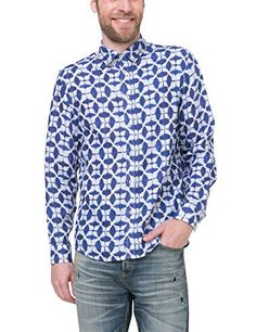 Desigual Men's Cam_jose María Blouse SHIRT JOSE MARIA Shirt in white and blue with an all over design. Regular classic fit. A fantasy that is not afraid to display its sweetness. This shirt has a soft collar, button tab, buttoned cuffs. An arroded front and back base. For greater clarity, the back yoke supports a flat fold. The Desigual signature is embroidered in blue at the top of the back. Long sleeves Buttoned cuffs COMPOSITION 100% LIN  Blouses, coats, hoodies, nightw