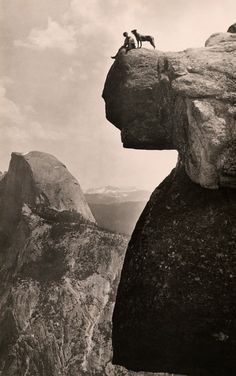 //\\ A man and his dog on the Overhanging Rock in Yosemite National Park, May 1924.Photograph by Educational-Bruce Photograph.jpg