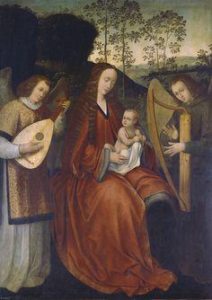 """""""La Virgen y el Niño con ángeles músicos"""", Maestro de la Santa Sangre (Estilo de), Siglo XVI"""