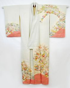 Japanese Silk Kimono Flower Garden Design Gold by NorthernTraders