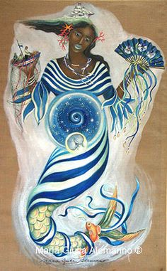 Maferefun Yemaya! Beautiful painting ofdepictingher with an eternal womb, a fan in one hand and a ship in the other also presenting some of her other attributes.