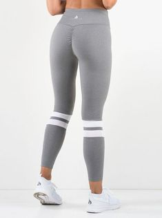 af85900b Ryder Wear Varsity Scrunch Leggings - Grey Mesh Panel, Tight Leggings,  Spandex, Grey