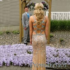 Sparkly gold prom dress, ball gown with slit, 2016 handmade chiffon long occasion dress for teens http://sweetheartdress.storenvy.com/products/11179098-2015-new-golden-rhinestone-plus-size-evening-dress-open-back-prom-dress #promdress