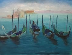 """Gondolas   18"""" x 24""""   Oil Painting   If Interested, email me at lamerledeca@gmail.com"""