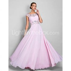 [USD $ 145.79] A-line Scoop Floor-length Chiffon Evening/Prom Dress (699415)