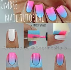 Ombre nails step by step put tape on skin so then it doesn't get on your skin