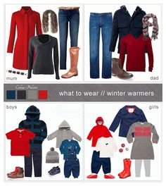 Ideas for clothing to wear for family photography session in the theme 'Winter Warm' and incorporating the colours Red, Navy & Grey.