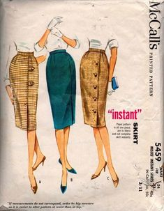 7f902c049 McCall's 5459 Womens Pencil Skirts with Button Trim 60s Vintage Sewing  Pattern Size Waist 24 Inches