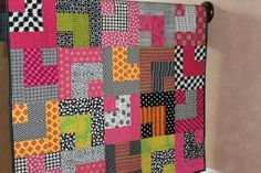 """Modern Baby Quilt """"William"""" Vibrant Multicolor Geometric Pattern in Pinks, Greens and Yellows with Black White Accents on Etsy, $98.00 by therese"""