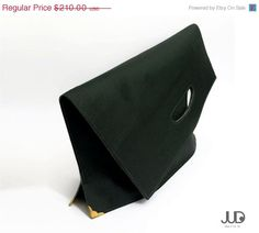 SALE& Free shipping  Green Leather hand bag Fold Clutch by JUDtlv, $178.50