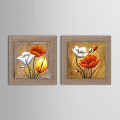 Oil Painting Modern Abstract Flower Set of 2 Hand Painted Natural linen with Stretched Frame – USD $ 119.99
