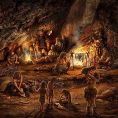 Neanderthal Clan in their cave by José Emilio Toro Pareja Prehistoric World, Prehistoric Creatures, Era Paleolítica, Cro Magnon, Early Humans, Human Evolution, Extinct Animals, Stone Age, Primitive Survival