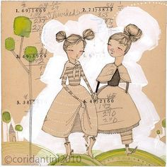 I love her work!!  a whimsical watercolor painting about friendship  an 8 x by corid, $20.00