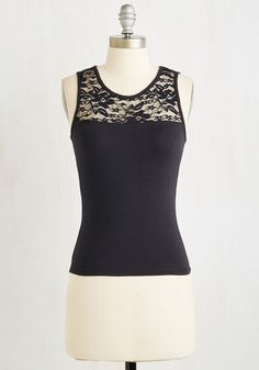 Awe Shook Up Top in Black - Short, Black, Lace, Party, Girls Night Out, Sleeveless, Knit, Good, Variation, Scoop, Cotton, Lace, Solid