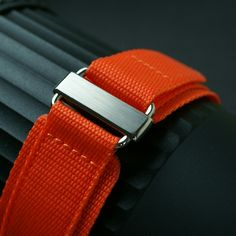 ea976b70ed2 Our all new Orange Nylon Velcro Watch Band with Stainless Steel Hardware  http