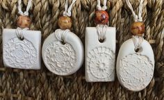 White Clay Pendant Necklaces - Essential Oils Diffuser Necklaces - Aromatherapy Necklace