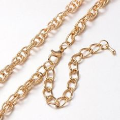1Strand Iron Double Link Necklace Chains Lobster Claw Clasps KC Gold Color DIY