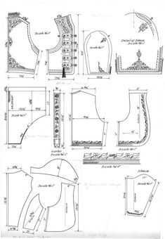 Pattern drawings of a woman's jacket (jaketa) from Cetinje, Montenegro, a man's trousers (gaće) from Montenegro, an unmarried girl's jacket . Costume Patterns, Coat Patterns, Sewing Patterns, Steampunk Fairy, Men Trousers, Couture Sewing, Costumes, Folk Costume, Pattern Drawing
