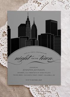 New York City Skyline Night on the Town Bachelorette Party Invitation Bachelorette Party Planning, Bachelorette Party Invitations, Bridal Shower Invitations, Wedding Stationery, Invites, Gala Invitation, Invitation Design, Invitation Ideas, City Skyline Night