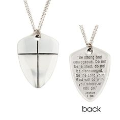 Handcrafted Sterling Silver Shield of Faith Necklace | Joshua 1:9 | Be Strong and Courageous | Large | Bob Siemon Designs