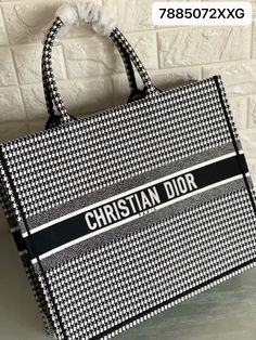 Christian Dior book tote houndstooth black white checks Large size Dior Bags, White Tote Bag, Houndstooth, Christian Dior, Black And White, Book, Dior Handbags, Black N White, Black White