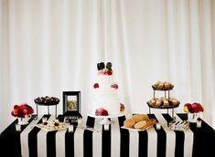 Birthday Dinners, Birthday Parties, Wedding Trends, Trendy Wedding, Black And White Tablecloth, Wedding Tablecloths, Wedding Linens, Table Overlays, Striped Wedding