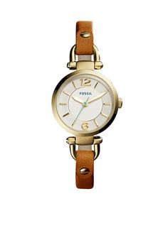 Fossil® Women's Georgia Dark Brown Leather Strap Three-Hand Watch