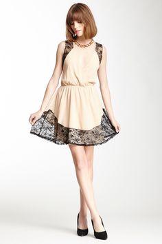 Pink Owl Surplice Neck Lacey Trim Dress on HauteLook