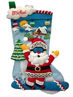 """Snowboard Santa (available April 15th) at MerryStockings.com. Fun, new, felt stocking kit for the """"boarder"""" in your life. This stocking kit is 18"""" and made in the USA."""