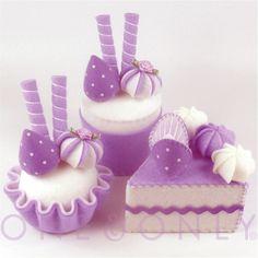 FELT CAKE SET 3 Purple Tea Party Felt Cakes