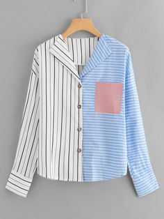 Shop Chest Pocket Two Tone Striped Blouse online. SHEIN offers Chest Pocket Two Tone Striped Blouse & more to fit your fashionable needs. Moda Outfits, Spring Shirts, Blouse Online, Fashion Outfits, Womens Fashion, Blouse Designs, Korean Fashion, Dame, Clothes For Women