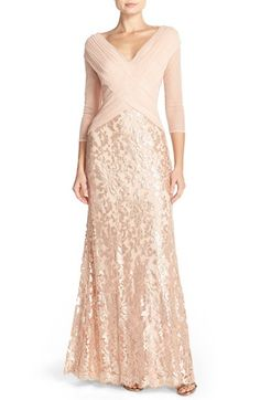 Tadashi Shoji Sequin Lace Gown | Nordstrom There's a lot I don't like about this, but the overall shape is so pretty