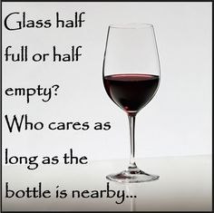 Glass half full or half empty?  Who cares as long as the bottle is nearby...
