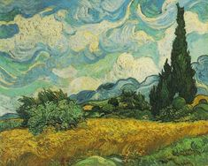 Wheat Field with Cypresses - Vincent van Gogh (Dutch, Zundert Auvers-sur-Oise). Cypresses gained ground in Van Gogh's work by late June 1889 when he resolved to devote one of his first series in Saint-Rémy to the towering trees. Van Gogh Pinturas, Vincent Van Gogh, Van Gogh Art, Art Van, Van Gogh Landscapes, Landscape Paintings, Abstract Landscape, Scenery Paintings, Landscape Designs