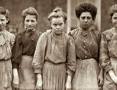 "January 19, 1909. Macon, Georgia. ""Some adolescents in Bibb Mill No. 1."" Photograph and caption by Lewis Wickes Hine.   Take a look at this old photo and realize how lucky you have it. This photo of young Southern girls was taken over 100 years ago - deafening sounds of the spinning machines & cotton fibers flew in the air...."