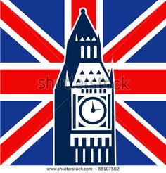 Vector illustration of icon with Great Britain  British Union Jack flag and Big Ben Clock Bell Tower - stock vector #BigBen #retro #illustration