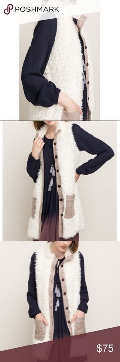 """Shearling """"faux fur"""" Vest Jacket Faux fur lined Duster Vest Jacket - lined w striped tan material And has pockets! Bnwt so darn cute and warm☕️ on trend. 100% poly Jackets & Coats Vests"""