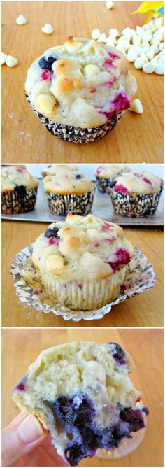 Blueberry, Raspberry & White Chocolate Chip Muffins