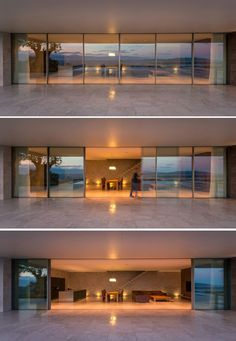 Frameless sliding windows by Sky-Frame, create a seamless transition between the inside and the outside. The sliding doors, powered by an electric drive, can be opened at the push of a button. window ideas The TRIF House by Sergey Fedotov Sliding Doors, Sliding Windows, Glass House, Glass Door, House Goals, Modern House Design, Seamless Transition, Interior Architecture, Luxury Homes