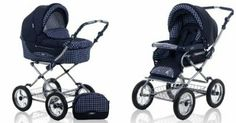 Amazon.com: Roan Kortina Classic Pram Stroller 2-in-1 with Bassinet and Seat (Navy - Chequered): Baby