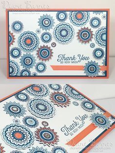 handmade thank you card using Stampin Up Paisleys & Posies stamp & die…
