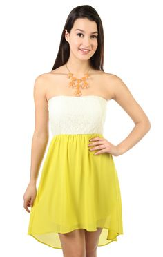 Deb Shops strapless day #dress with lace bodice and chiffon high low hem