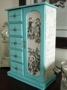 Large Vintage Upcycled Hand Painted and Decoupaged Jewelry Box Tiffany Blue on Wanelo