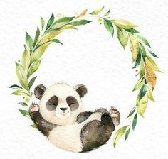 Panda Watercolor little animal clipart floral wreath Etsy Watercolor Animals, Watercolor Paintings, Animal Drawings, Cute Drawings, Panda Bebe, Panda Illustration, Panda Painting, The Animals, Panda Art